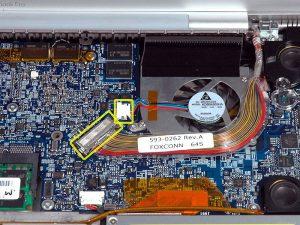 """MacBook Pro 17 """"Mô hình A1151 A1212 A1229 và A1261 – Thay thế quạt bên phải"""