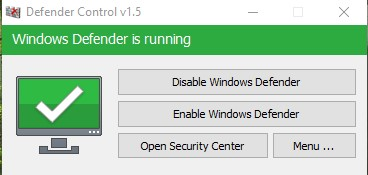 Defender Control 1.6 – Vô Hiệu Hóa Windows Defender